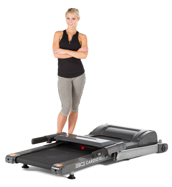 The 3G Cardio 80i Fold Flat Treadmill can fold down to a height of just 9.75 inches and easily be rolled under the bed, pool table, etc. for storage. When it's set up, it's the only fold flat treadmill that people can get a quality run on.