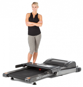 The 3G Cardio 80i Treadmill can fold down to a height of just 9.75 inches and easily be rolled under the bed, pool table, etc. for storage. If you prefer it can be folded up and stored vertically in a closet, corner of the room, etc.