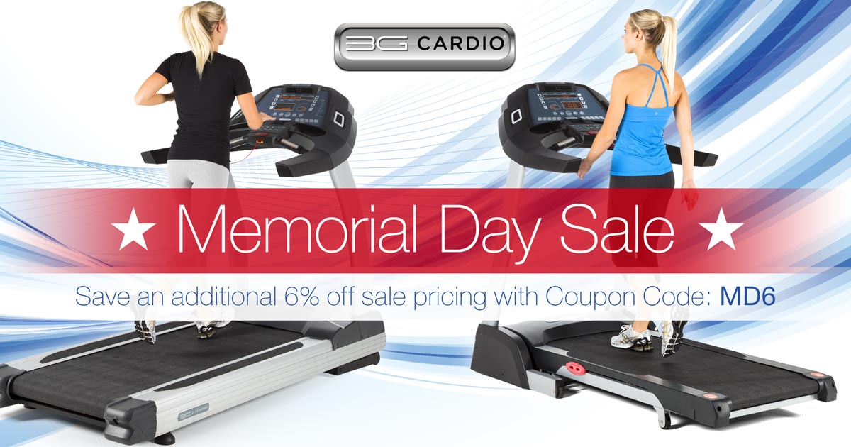 Celebrate this Memorial Day Weekend with 6% savings off our entire fitness catalog including already low sale priced treadmills, exercise bikes and vibration machines from 3G Cardio! Use coupon code MD6 on checkout today