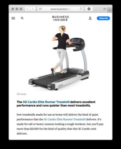 Businessinsider.com praises 3G Cardio Elite Runner Treadmill