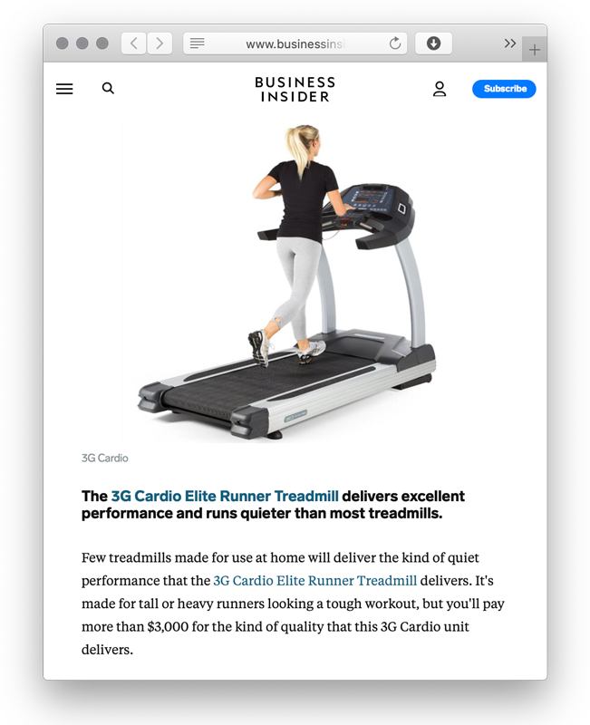 Businessinsider.com praises 3G Cardio Elite Runner Treadmill