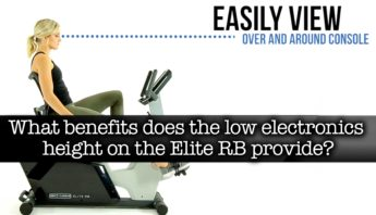 What benefits does the low electronics height on the Elite RB Recumbent Bike provide?
