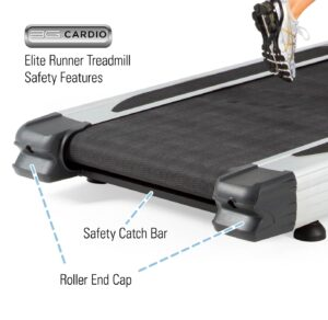 3G Cardio Elite Runner Treadmill Safety Features - Safety Catch Bar and Roller End Caps